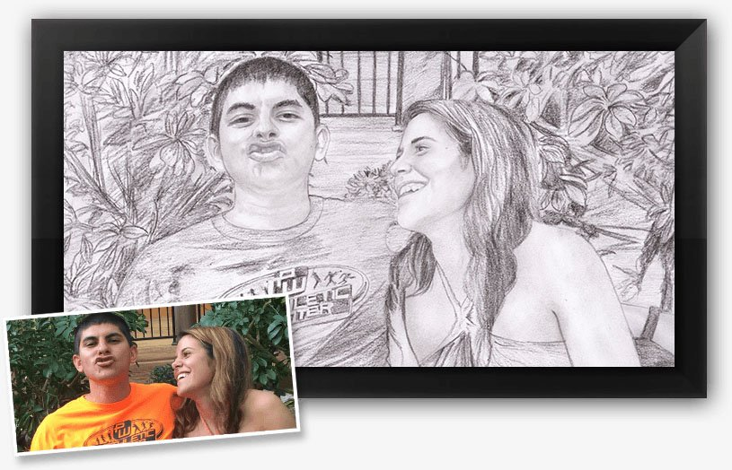 work for one of our charcoal portrait artists